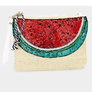 Handbags - Sequin Watermelon Straw Clutch/Crossbody Bag